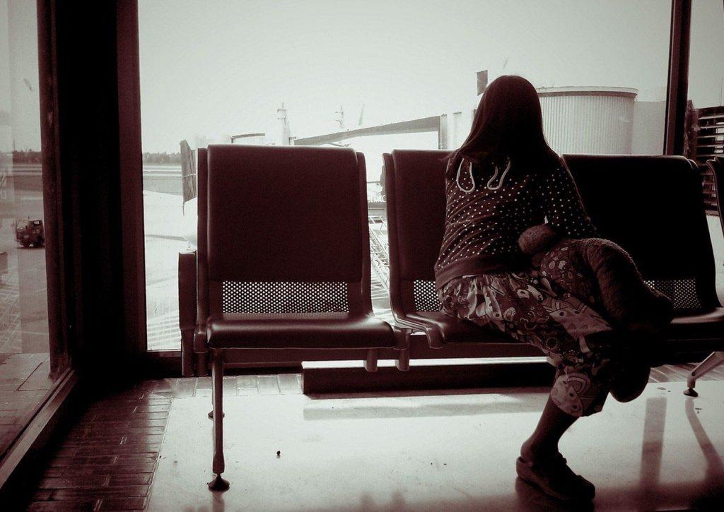 woman fleeing abusive relationship