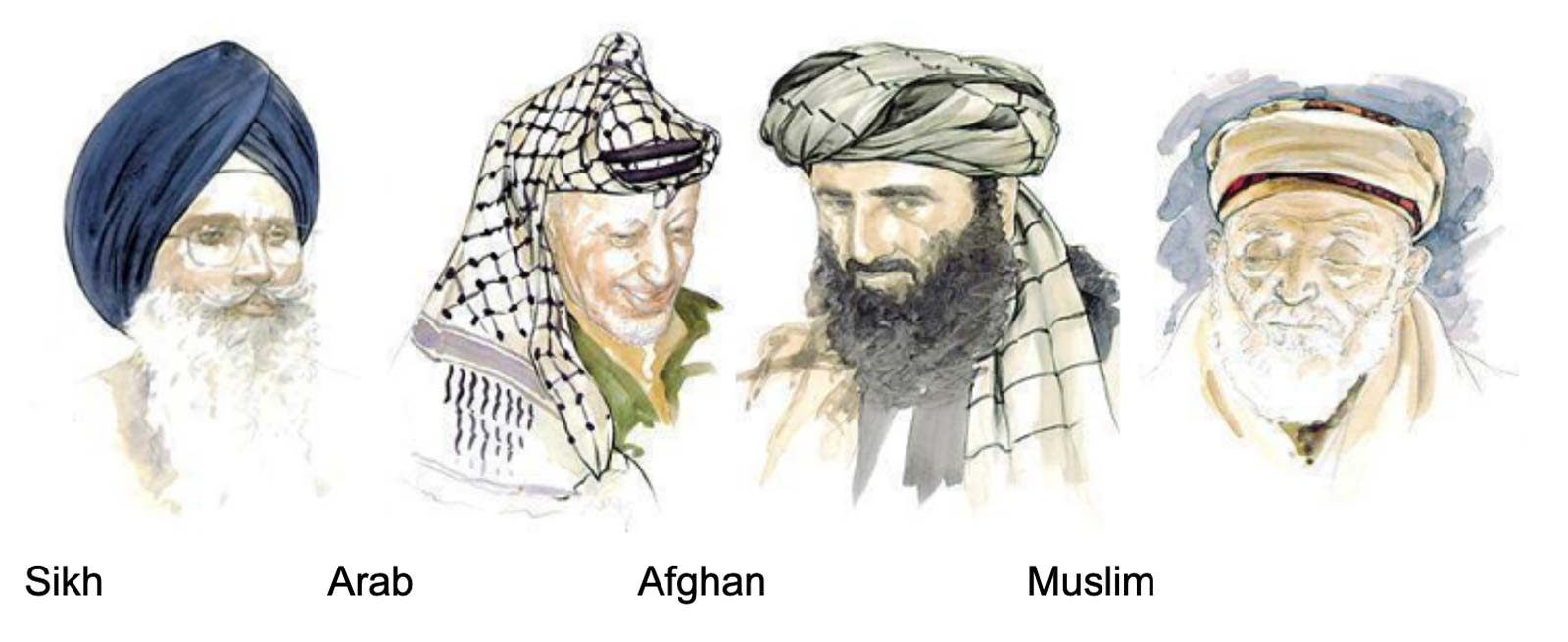 different types of religious turbans - sikh, arab, afghan, muslim